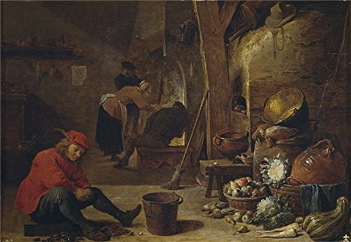 'Teniers David La Cocina 1643 ' Oil Painting, 24 X 35 Inch / 61 X 88 Cm ,printed On High Quality Polyster Canvas ,this Imitations Art DecorativeCanvas Prints Is Perfectly Suitalbe For Game Room Gallery Art And Home Artwork And