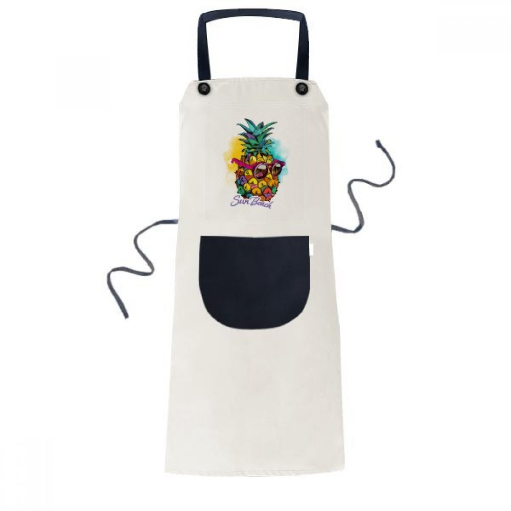 DIYthinker Sunglasses Pineapple Tropical Style Fruit Apron Cooking Bib Black Kitchen Pocket Women Men