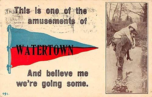 Watertown New York Greetings Pennant Flag Vintage Postcard JB626312
