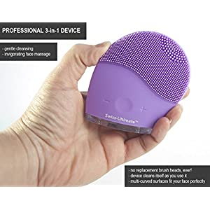 Swiss-Ultimate Labs Sonic Perfect Curve Silicone Face Cleanser Brush, 3-in-1 Deep Face Cleaner & Invigorating Massage, 14 Modes, USB Charging & Waterproof w/ Bonus Herbal Face Wash Sample