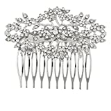 Lux Accessories Silvertone and Rhinestone Bridal Bride Flower Vines Hair Comb