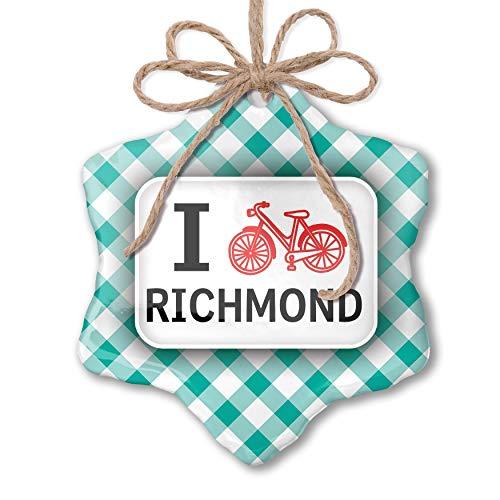 NEONBLOND Christmas Ornament I Love Cycling City Richmond Pastel Mint Green Plaid