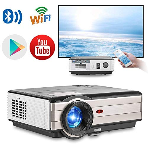 """ZLMI Wireless TV Projector 200"""" Android 6.0 LCD Smart Projectors Home Cinema Theater Support Full HD 1080P with HDMI VGA USB AV TV Audio Port for Indoor Movies/Gaming BBQ Party from ZLMI"""