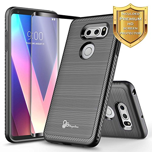 LG V30 Case, LG V30 Plus/LG V30S ThinQ/LG V35 / LG V35 ThinQ w/[Full Cover Screen Protector Clear HD], NageBee [Carbon Fiber] Brushed [Heavy Duty] Shock Proof Dual Layer Hybrid Case (Black)