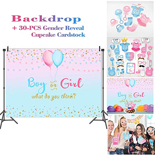 Fanghui Gender Reveal Party Blue and Pink Backdrop Golden Star Balloon Boy or Girl What do You Think Photography Background Cake Table Party Banner Supplies and Dress-up DIY Kit Photo Booth Props ()
