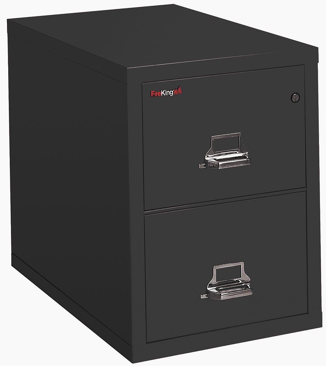 FireKing - 21825CBL - FireKing 2-1825-C Vertical File Cabinet - 17.75 x 25 x 28 - Steel - 2 x File Drawer(s) - Letter - Insulated, Key Lock, Scratch-Resistant, Fireproof, Water Resistant - Black, by FireKing
