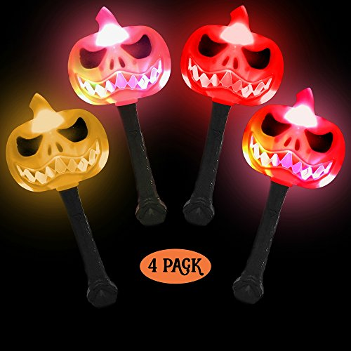 Halloween Party Favors for Kids - 4 Pack of Toys for Goody Bags -LED Light Up Wands Glowing Pumpkins