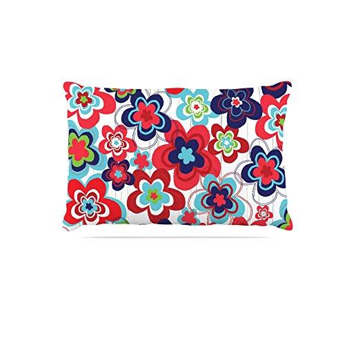 Kess InHouse Jolene Heckman Marsala Floral Mix  Fleece Dog Bed, 50 by 60 , Pink bluee