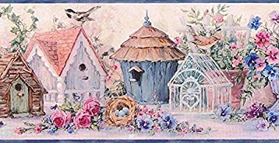 Blue Flowers And Bird Houses Wallpaper Border 30101 DW