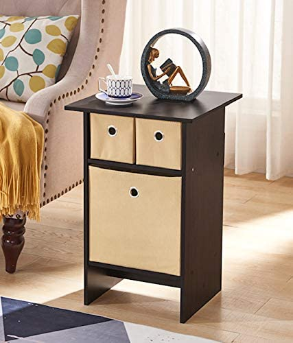 Espresso Finish 3 Beige Easy Pull Storage Bins Drawers Nightstand Side End Table