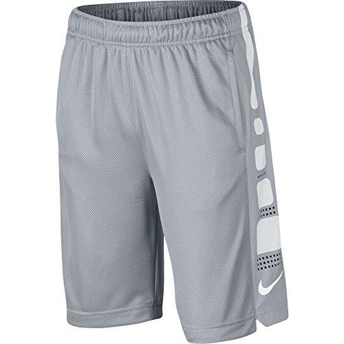 Nike Boy's Elite Striped Athletic Basketball Shorts Cool Grey/White M (Striped Basketball Mesh Shorts)
