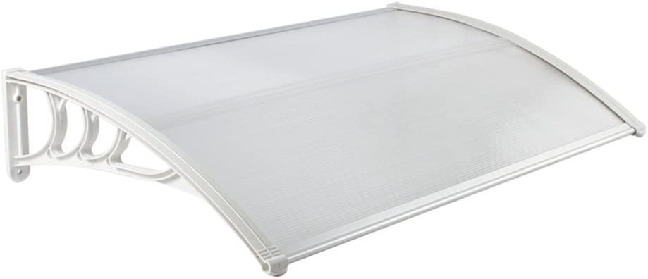 MCTECH 120 x 90 cm Marquesina Toldo para terrazas Tejadillo de protección para puertas y ventanas, Blanco