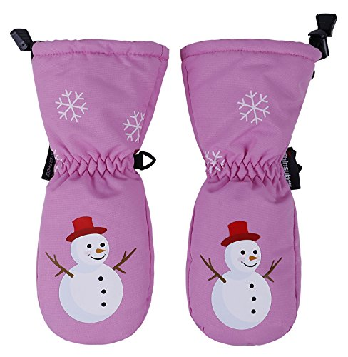 Andorra Kids Premium Waterproof Thinsulate Insulation Snow Mittens,XS,Pink/Snowman