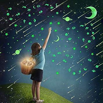 solar.. 9 Brillante Pegatinas De Pared Liderstar Brillan En La Oscuridad Estrellas Y Planetas