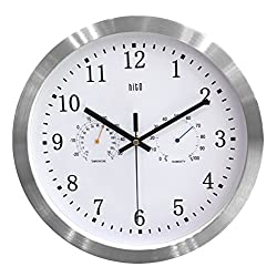 HITO 12 Inches Silent Non-ticking Wall Clock w/ Aluminum Frame and Acrylic Front Cover (T&H-white)