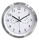 hito Silent Wall Clock Non ticking 12 inch Excellent Accurate Sweep Movement Silver Aluminum Frame, Modern Decorative for Kitchen, Living Room, Bedroom, Bathroom, Bedroom, Office (T&H-white)