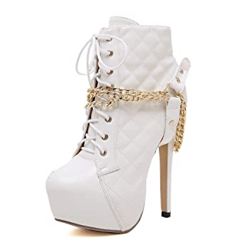 Las mujeres señalaron los zapatos de tacón alto / Punk Bone Heels Plataforma Botines Moda Botas