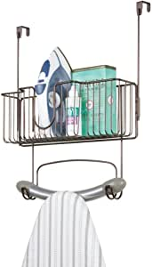 mDesign Metal Wire Over Door Hanging Ironing Board Holder with Large Storage Basket - Organizer Holds Iron, Board, Spray Bottles, Starch, Fabric Refresher - for Laundry, Utility Room, Closet - Bronze