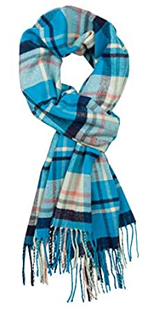 Plum Feathers Plaid Check and Solid Cashmere Feel Winter Scarf (Aqua & Navy Plaid)