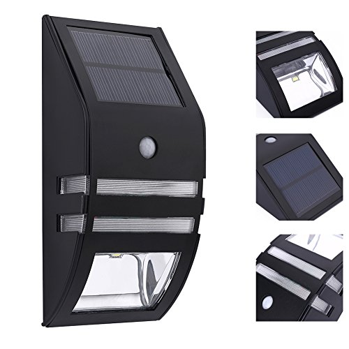 Solar Wall Accent Lights Metal Fence Lamp Led Mount Motion Sensor Waterproof Security White Lighting for Patio Yard Outdoor Stair Step Deck Driveway Walkway Nightlight 1PACK by POPPAP