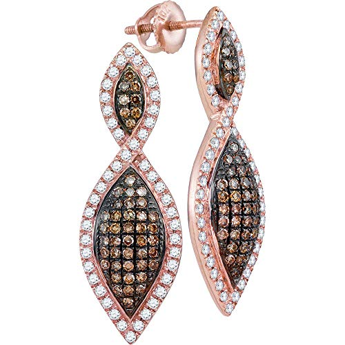 Jewel Tie Solid 10k Rose Gold Round Chocolate Brown Diamond Oval Dangle Earrings 1.00 Cttw.