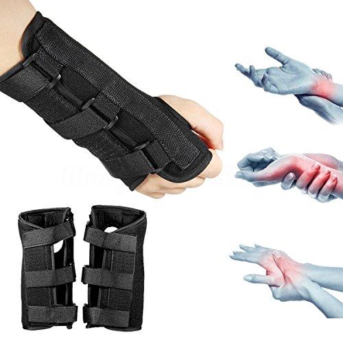 Marketworldcup 1 Pair Carpal Tunnel 2 Wrist Brace Support Sprain Forearm Splint Band Strap Bar ()