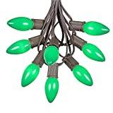 100 Foot C9 Green Ceramic Christmas String Light Set - Outdoor Christmas Light String - Christmas Tree Lights – Opaque Christmas Bulbs - Roofline Light String – Outdoor String Lights - Brown Wire