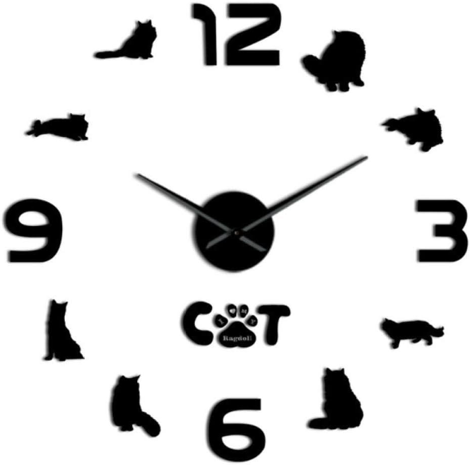 XXYMCB Gato siamés Gato DIY Reloj de Pared Grande 3D Gato Silueta Arte de la Pared Espejo Pegatinas Gato Mascota Decoración para el hogar Amante Regalo-Black_47_Inch