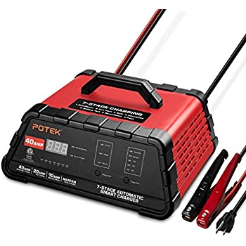 Potek 10/20/40 Amp Smart Battery Charger and Maintainer with 50-Amp Battery Clips