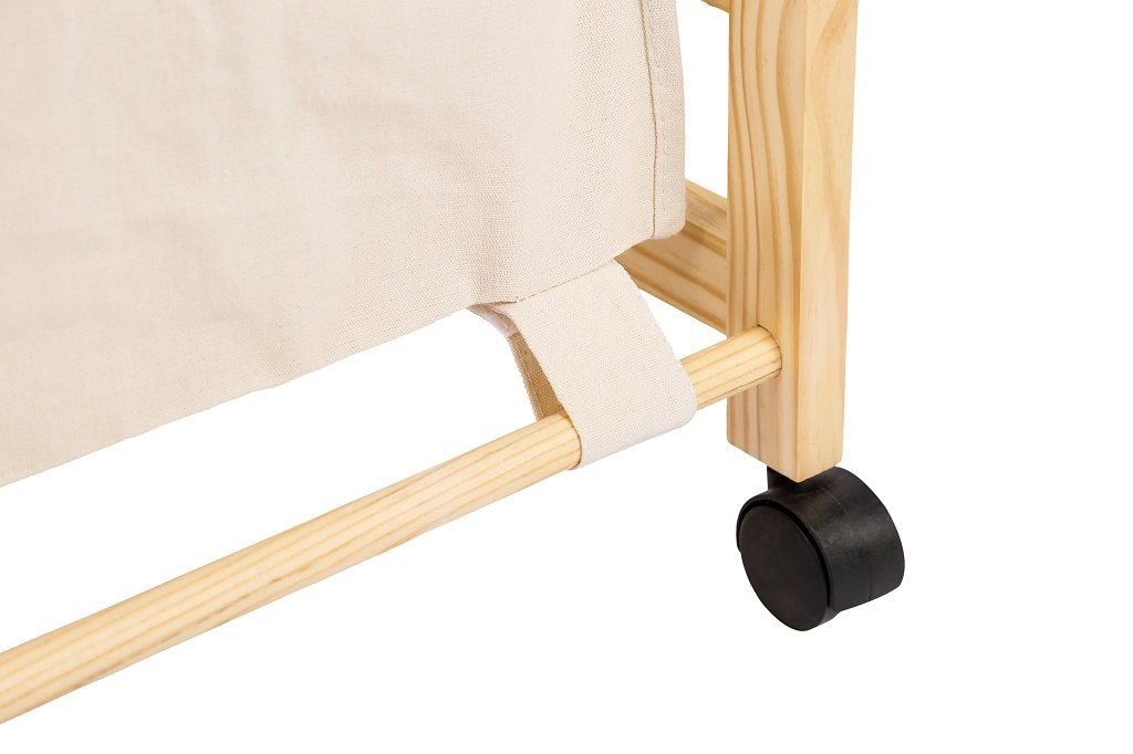 Laundry Hamper Sorter Cart Clothes Basket Storage with Wheels and Cover Bamboo Design by Bamfan (Image #3)