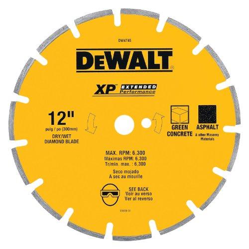 DEWALT DW4745 XP 12-Inch Dry Cutting Diamond Segmented Saw Blade with 1-Inch Arbor for Ashphalt and Green Concrete Green Concrete Segmented Diamond