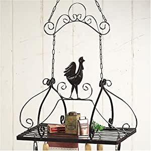 Amazon.com: French ROOSTER storage HANGING POT RACK NEW ...