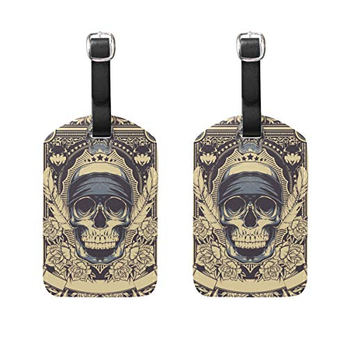 (MUOOUM Warrior Skull Head Wolf Rose Eye Luggage Tages Travel Labels Suitcase Bag Tag with Name Address Cards 2 Pcs)