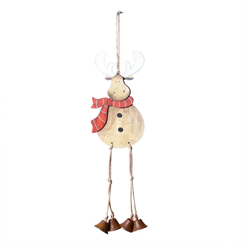 Fablcrew Ciondolo di Albero di Natale in Legno ornements abbellimenti Decorazione sospesa per Albero di Natale Porte Finestra e Camino Legno Stile C 50 * 12CM
