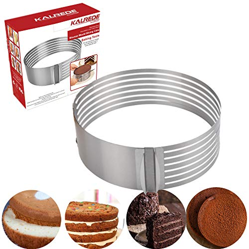 KALREDE Layer Cake Slicer- Adjustable Bread Cake Slicer Cutter 7 layers- Stainless Steel 9 Inch to 12 Inch Cake Ring- Baking Accessories Tools