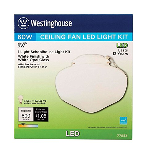 Westinghouse Lighting 77853 1LGT WHT School Kit Frosted White Schoolhouse Ceiling Fan
