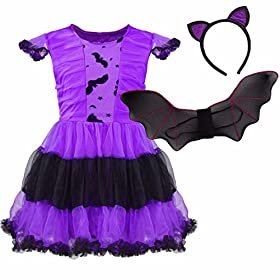 - 51Dp1hjidKL - FEESHOW Kids Girls Bat Wings Halloween Costume Cosplay Outfit with Cat Ear Headband Set
