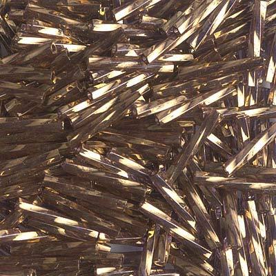 Miyuki Twisted Bugle Beads 2 x 12mm Gold Antiqued Transparent Amethyst 12 Grams TW2012-1285