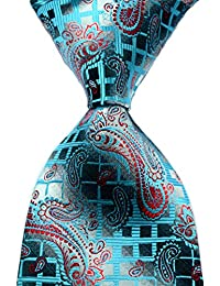 Mr.ZHANG New Pattern Paisley Turquoise Red JACQUARD WOVEN 100% Silk Men's Tie Necktie