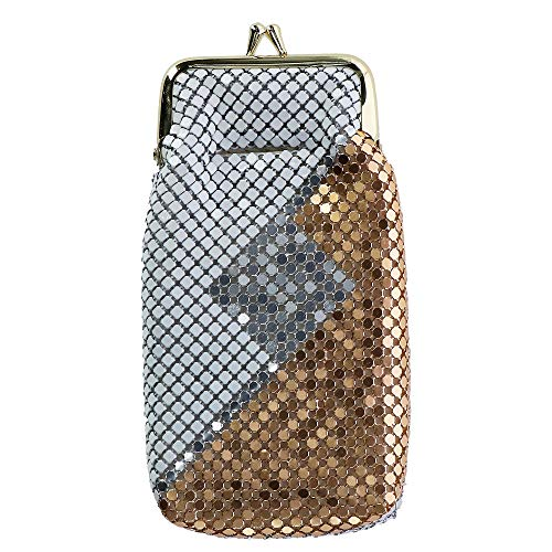 CTM Women's Mesh Pattern Cigarette Case with Lighter Pocket & Kiss Lock Closure ()