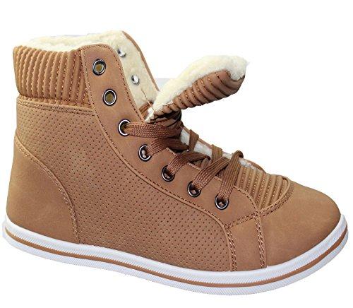 KOLLACHE Damen Fell Gefütterte Boots Damen Winter Warm Lace Up Trainer flach Komfort Knöchel Schuhe Camel