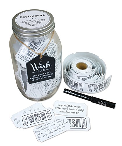 Top Shelf Retirement Wish Jar ; Personalized Gift for Men and Women ; Unique and Thoughtful Gift Ideas for Mom, Dad, Husband, Wife, Coworker, or Best Friend ; Kit Comes with 100 Tickets, Pen, and Lid