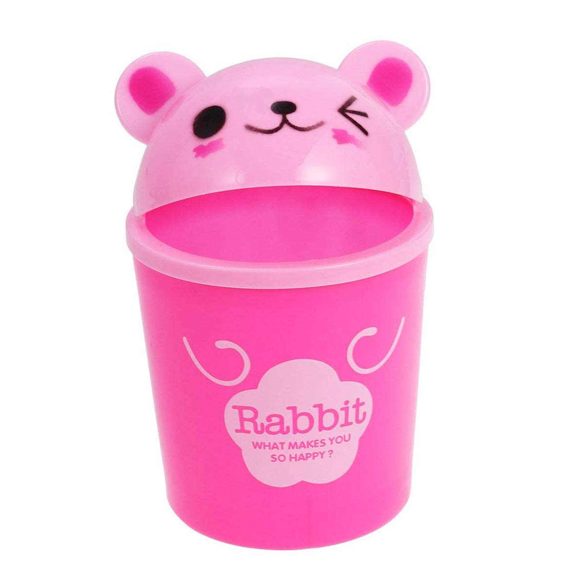 Nuobo Mini Trash Can with Lid Desktop Storage Organizer Debris Bucket Cute Plastic Small Trash Bins Creative Wastebaskets (Panda)