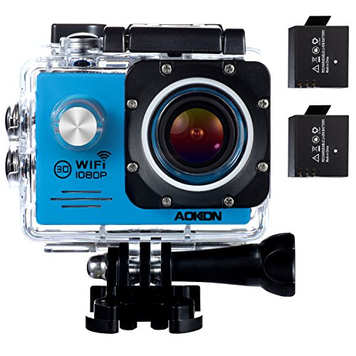 Aokon Underwater Action Camera ASJ70 Waterproof Sports WiFi 1080P 12M HD Helmet Motorcycle Digital Video Cam with 170 Wide Angle Lens 2.0 LCD 4X Zoom 2 Batteries and 19 Accessories Kit, Blue AOKON