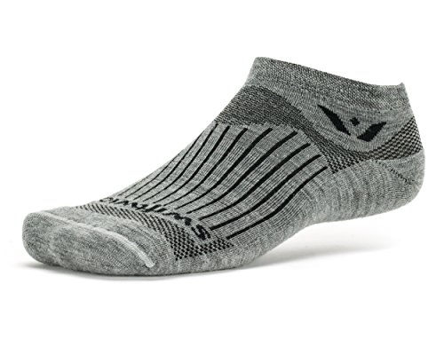 Swiftwick - Pursuit ZERO, No-Show Socks for Running and Cycling, Heather, X-Large