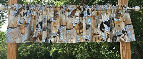 Cheap Feline Handcrafted Curtain Valance Sewn From Sweet Lovable Cat and Kitten Blue & White Fabric