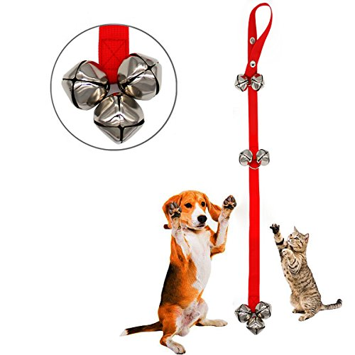 Pet Doorbells Premium Quality Training Potty, Knocking door, Calling, Dog Cat Bells Adjustable Door Bell, for Potty Training, Easy Train, 7 Bells Upgrade ver, by Yamissi (Red)