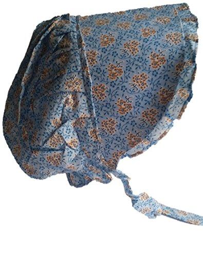 (Americana Adult Large Prairie Sun Bonnet (Various Colors) (Blue With Organge Burst))