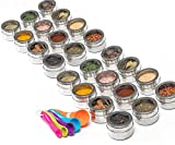 Nellam Spice Magnetic Storage Jars for Spices - 24 pcs Stainless Steel Kitchen Containers with Clear Top - Organizer Tins Kit include a Measuring Spoon Set