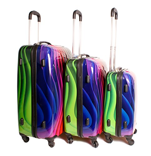 2408 Wavy Multicolour Rainbow Set of 3 Suitcases - Super ...